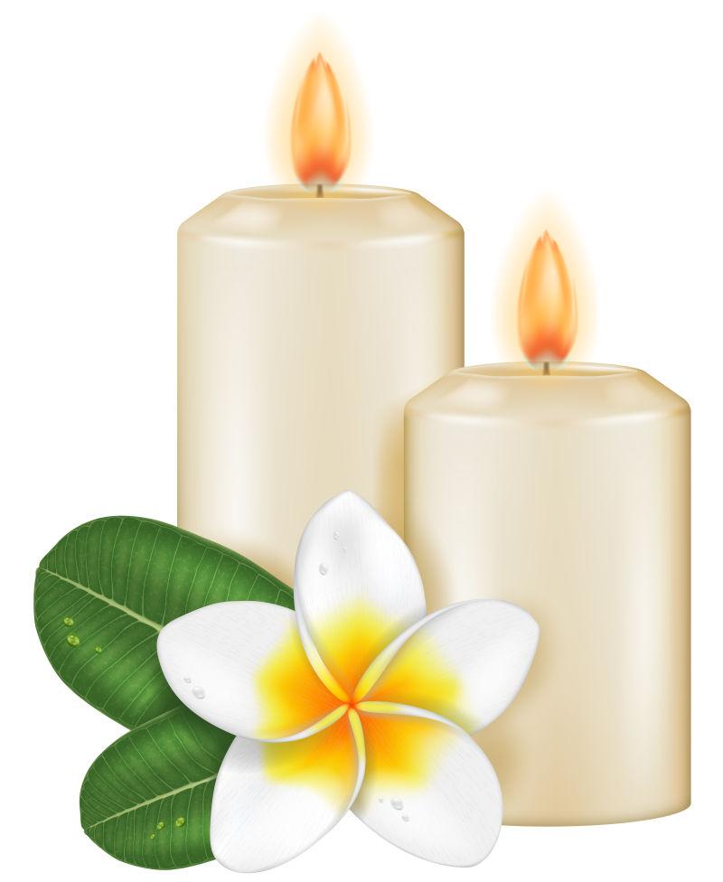 白色蜡烛与花朵