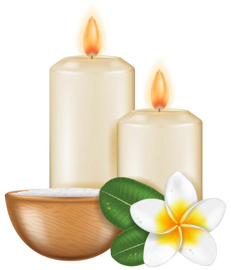 两只蜡烛与花朵