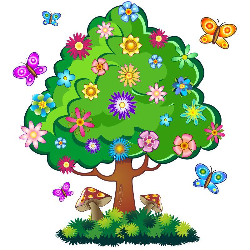 卡通风格的大树矢量插图