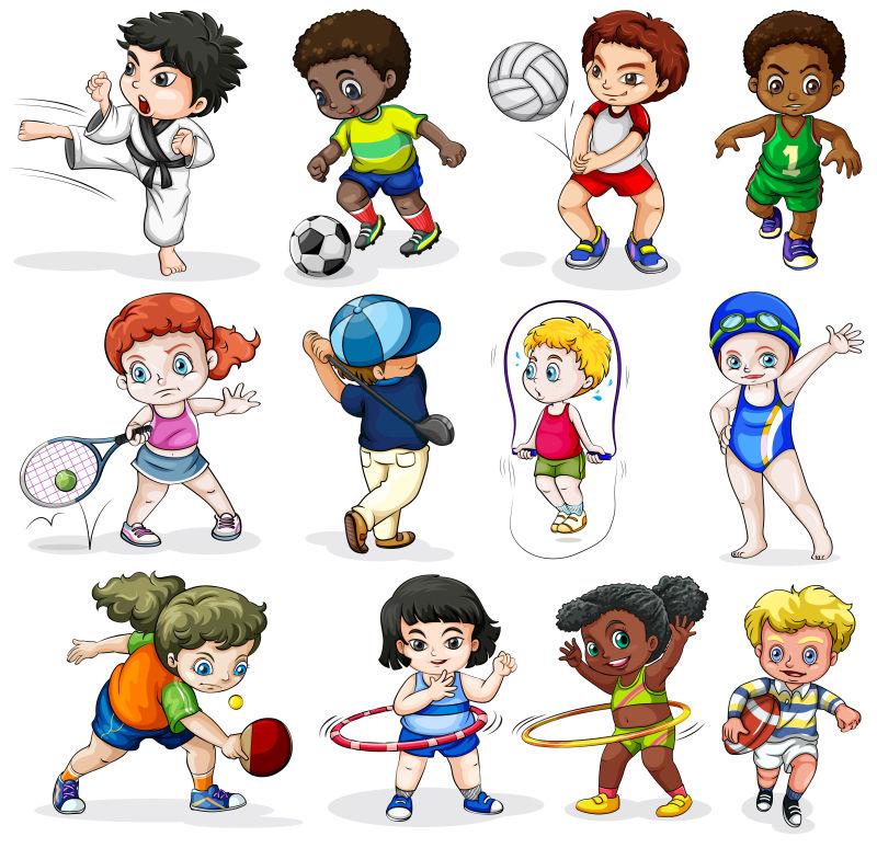 不同种类的儿童娱乐项目矢量插图