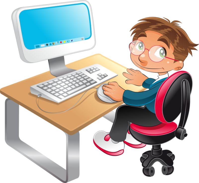 电脑前的小学生卡通矢量插图