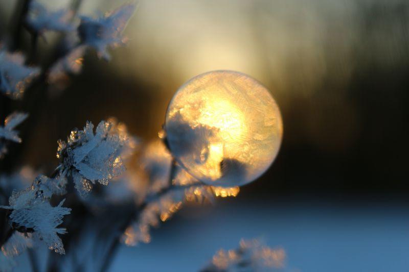 夕阳下雪上的泡泡
