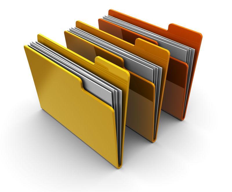 白色背景上放满文件的三个文件夹