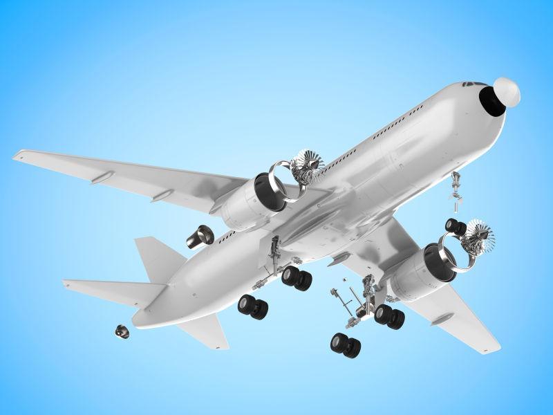 蓝色背景前的飞机模型