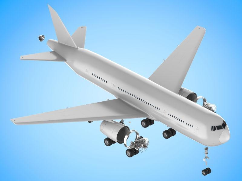 蓝色背景前模拟飞行的飞机