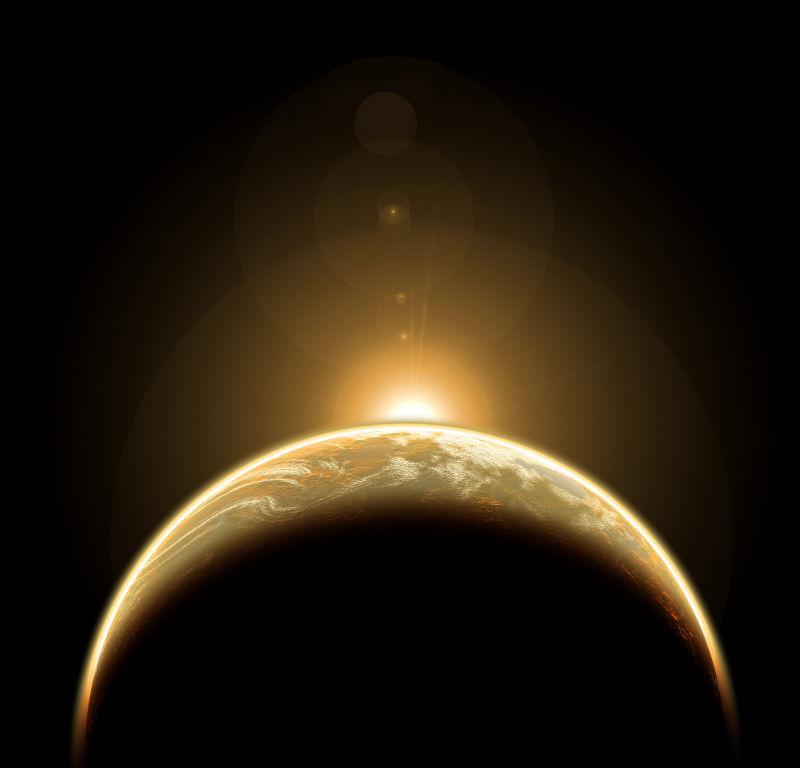 从地球的另一面升起的太阳