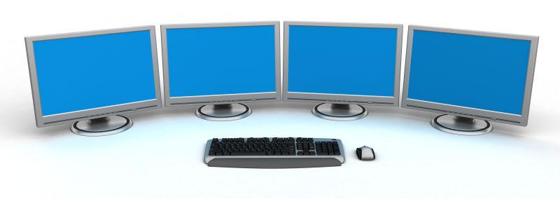 一个键盘与四个显示器
