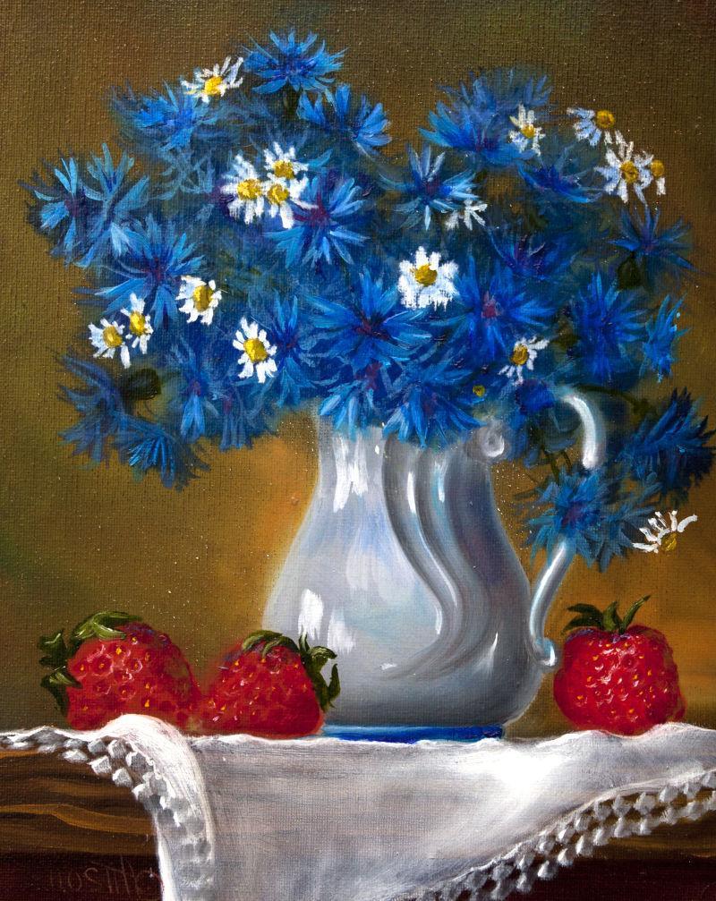 褐色背景下白色瓷瓶里的蓝色花朵油画