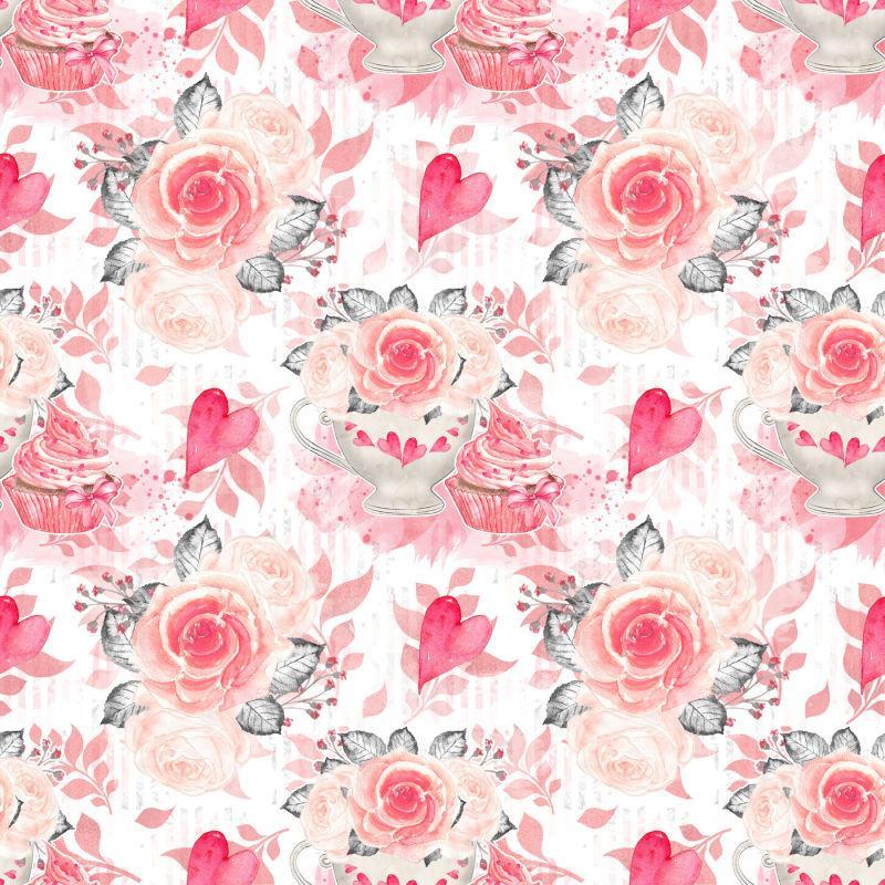 白底心形玫瑰图案