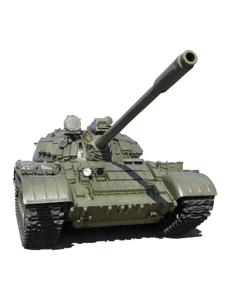 白色背景下的俄罗斯坦克