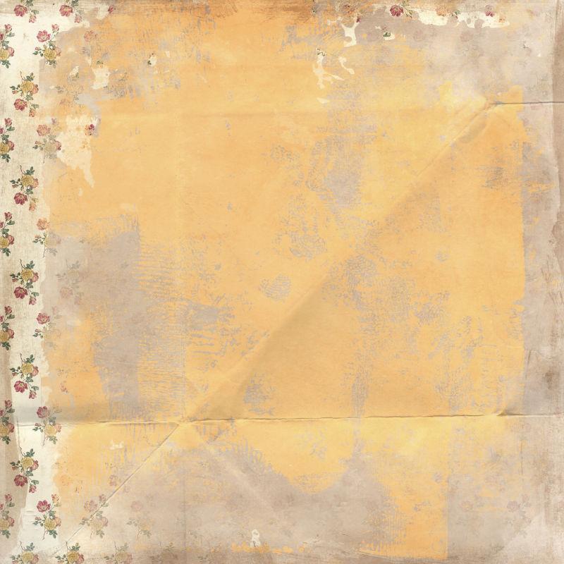 鲜花背景上的黄色图案