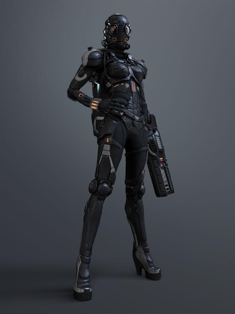 黑色背景下拿着手枪站立的女孩机器人创意