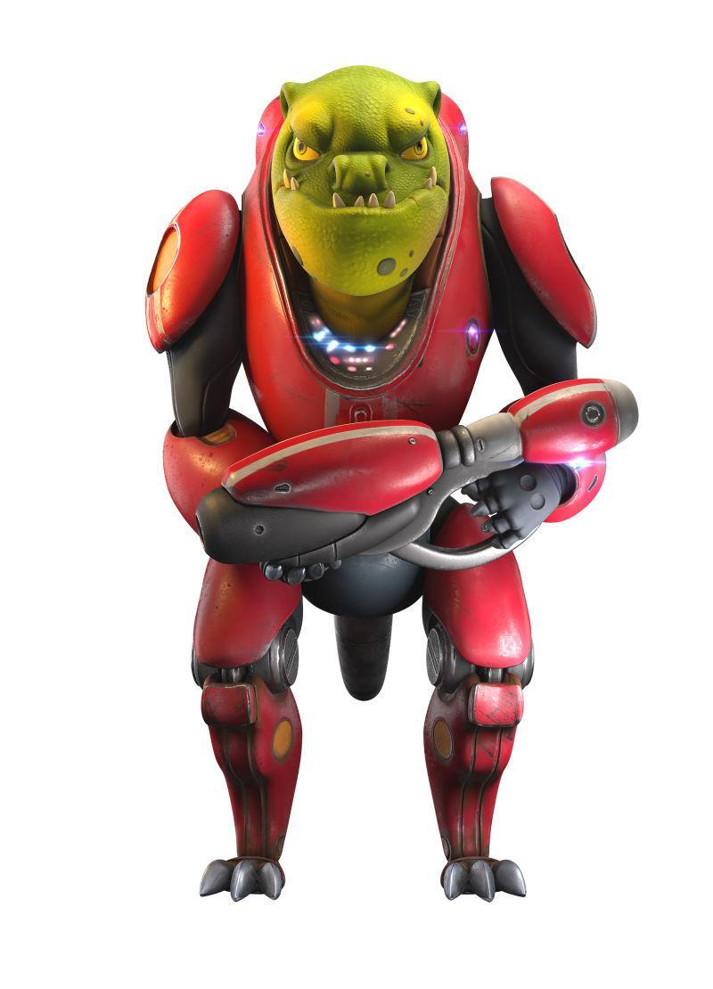 白色背景下红色铠甲机器人创意