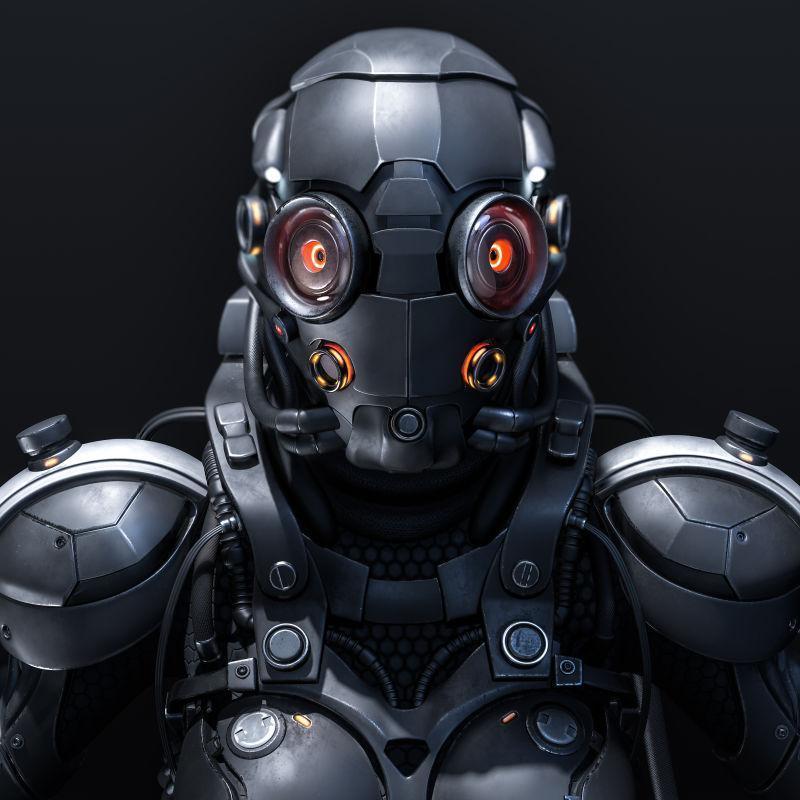 黑色背景下三维机器人创意