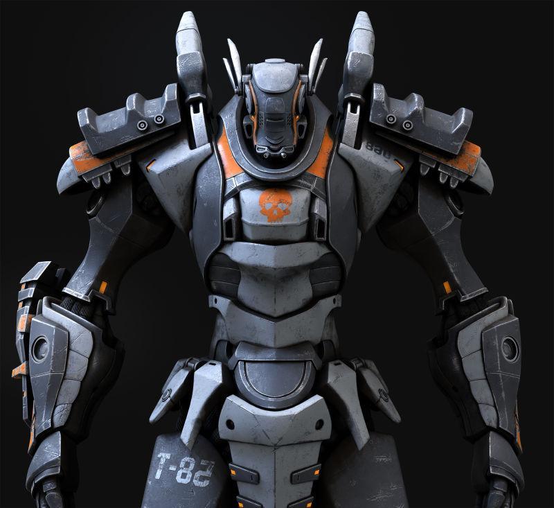 黑色背景下灰色机器人3D创意