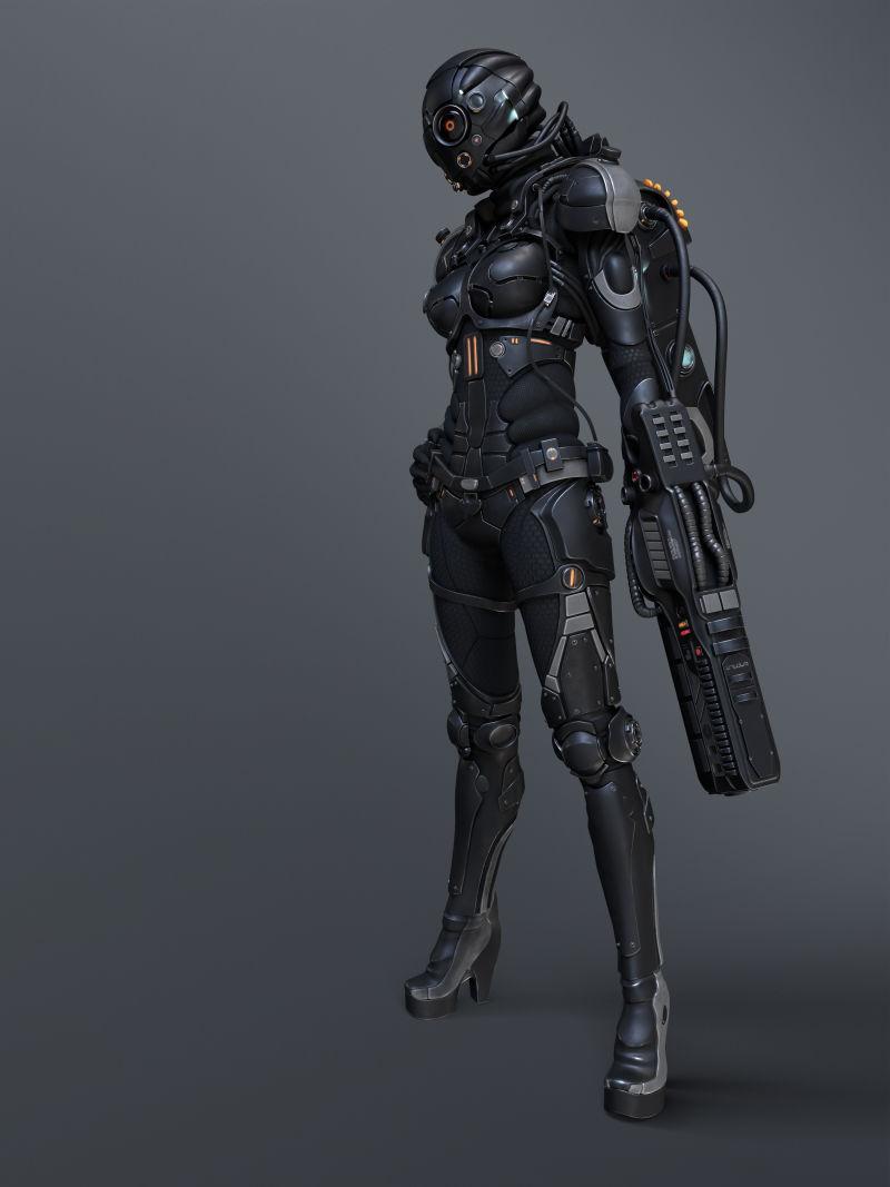 灰色背景下拿着手枪的站立的女性机器人设计
