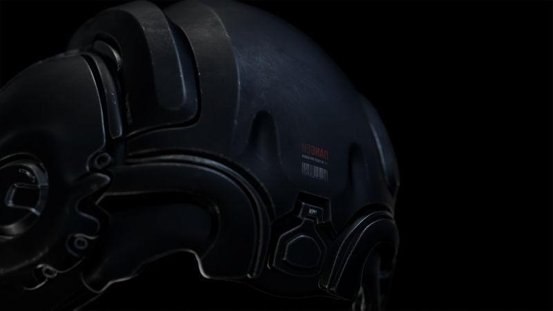 黑色背景下机器人的黑色头盔创意