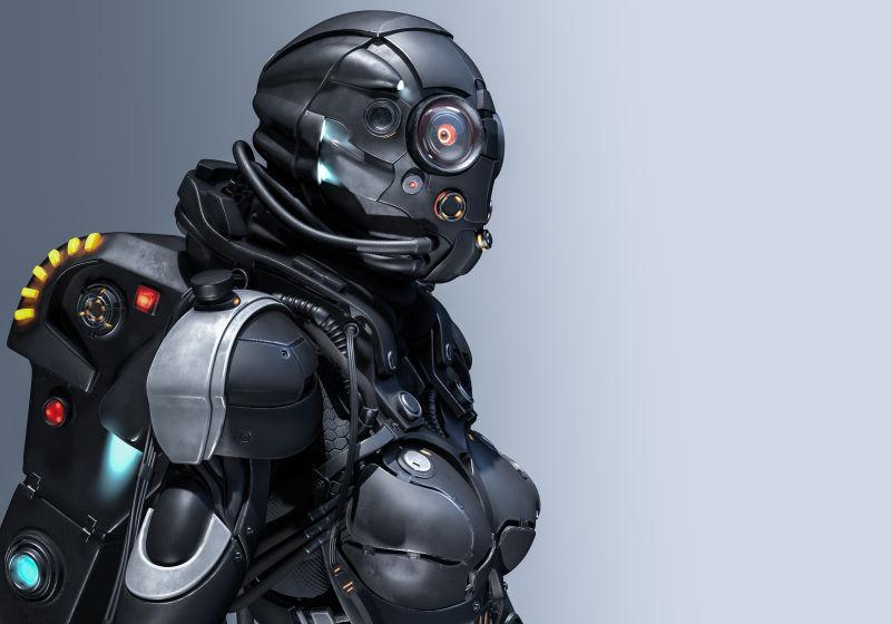 灰色背景下的机器人创意