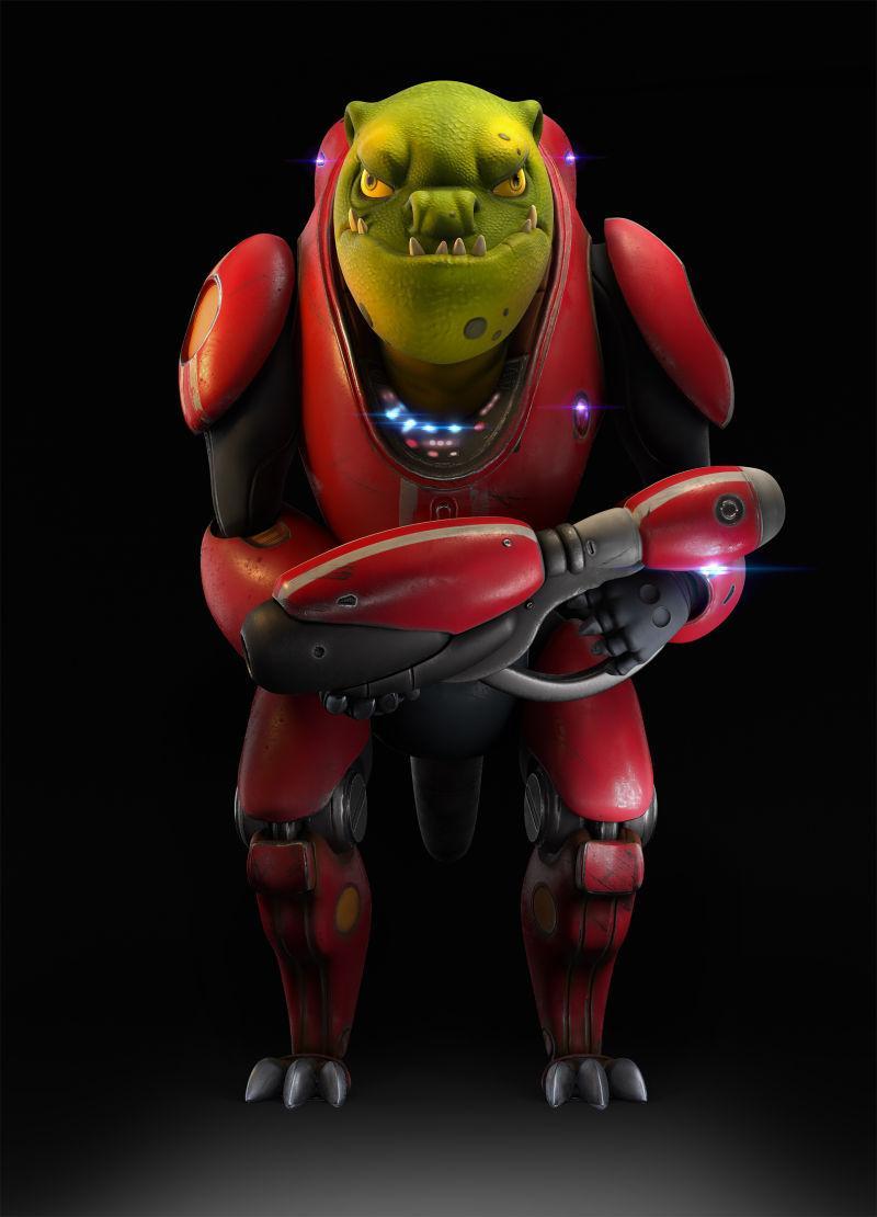 黑色背景下拿着枪的科幻机器人创意