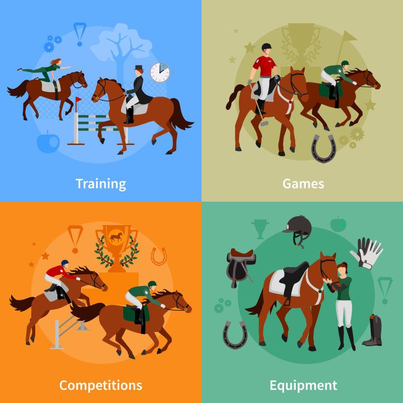矢量的马术比赛概念插图设计