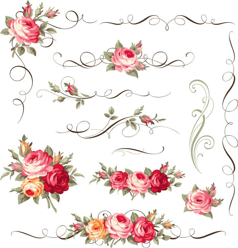 创意矢量装饰花卉设计元素