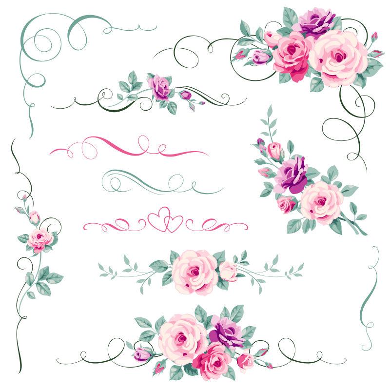 创意花卉装饰设计元素矢量