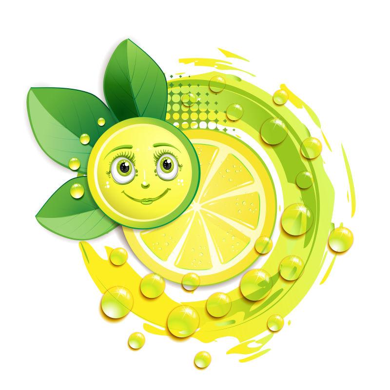 矢量柠檬片与笑脸