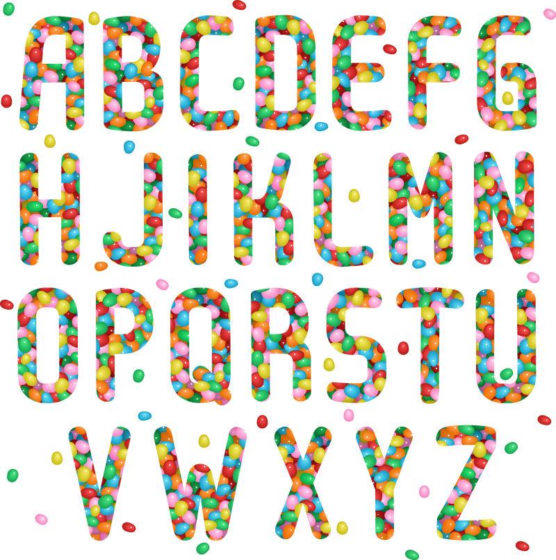 彩虹糖组成的英文字母表矢量