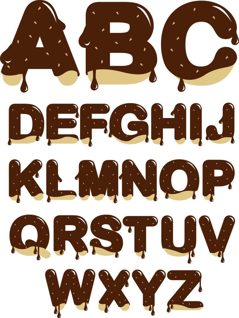 矢量的巧克力字母表设计