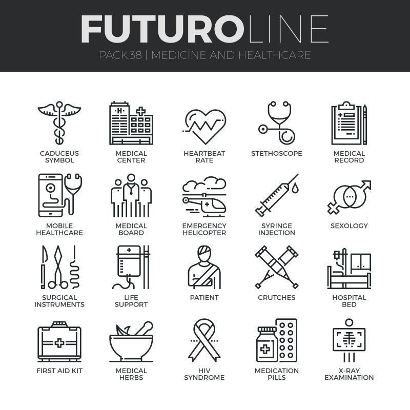 创意矢量医疗健康概念的细线风格图标设计