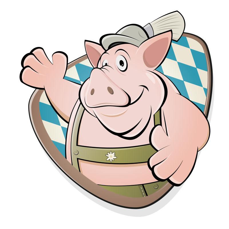 穿着工作服的小猪矢量插图
