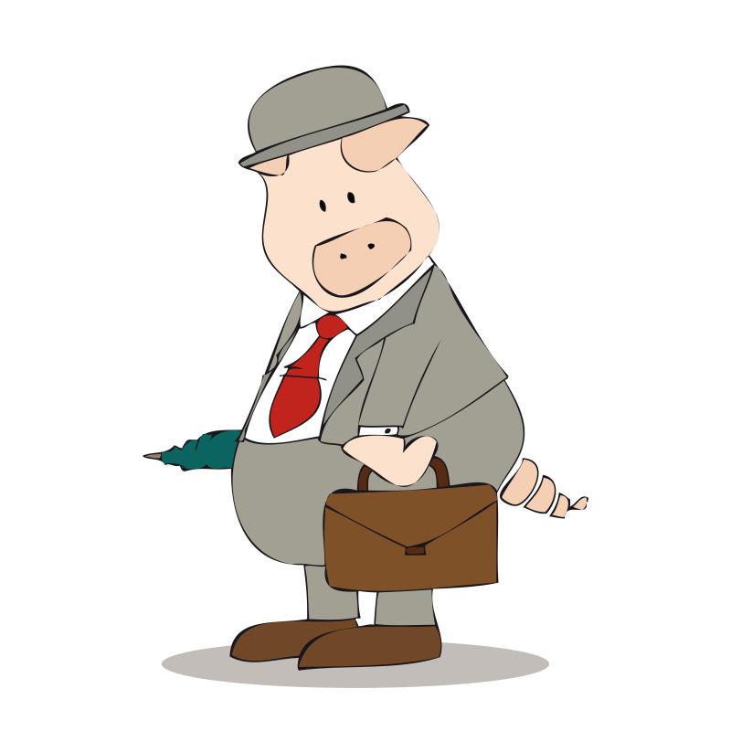 穿着职业装的猪矢量插图