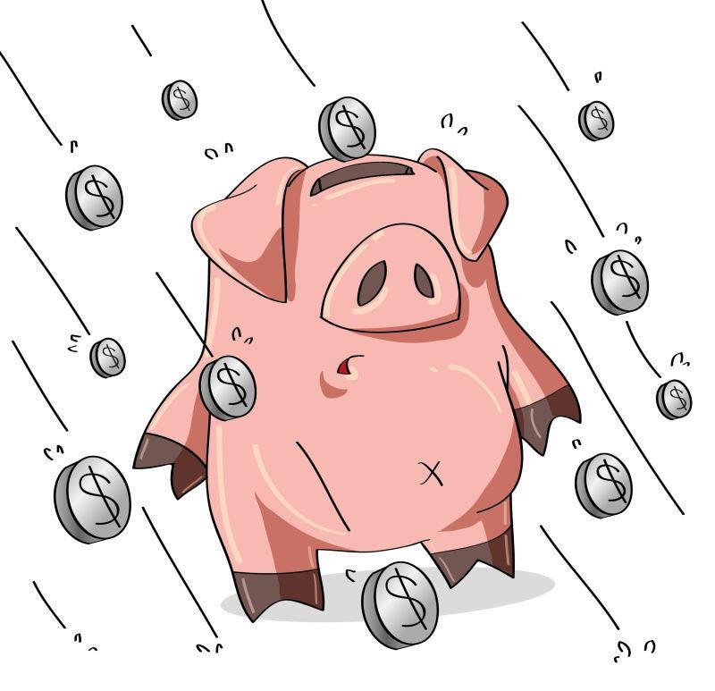 站在硬币雨里的小猪存钱罐矢量插图