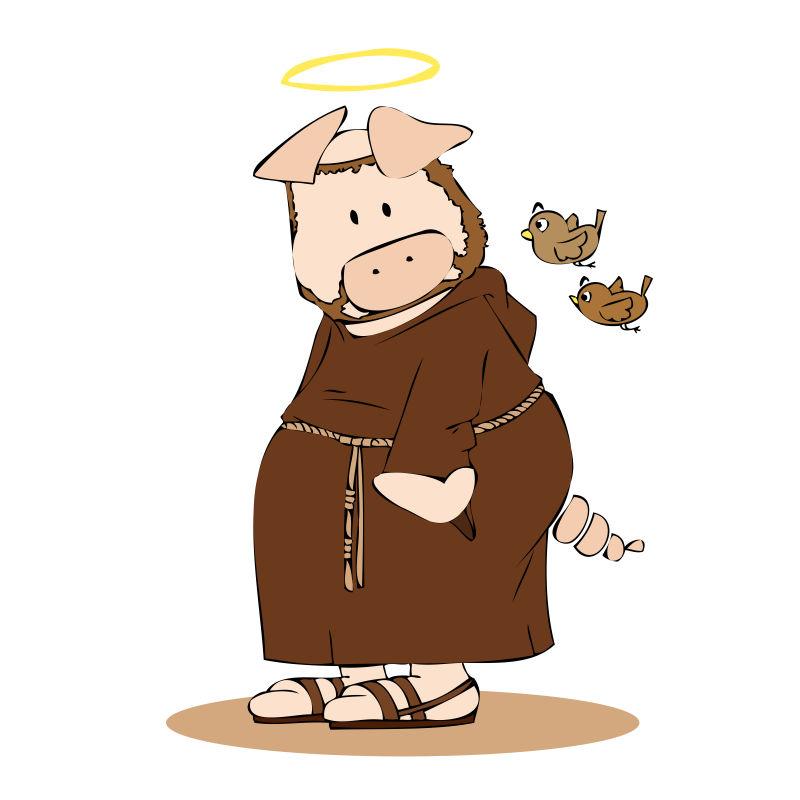 穿着修士服的猪矢量插图