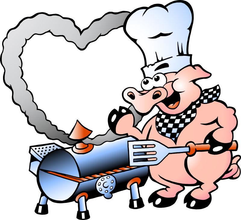 制作烤肉的猪矢量插图