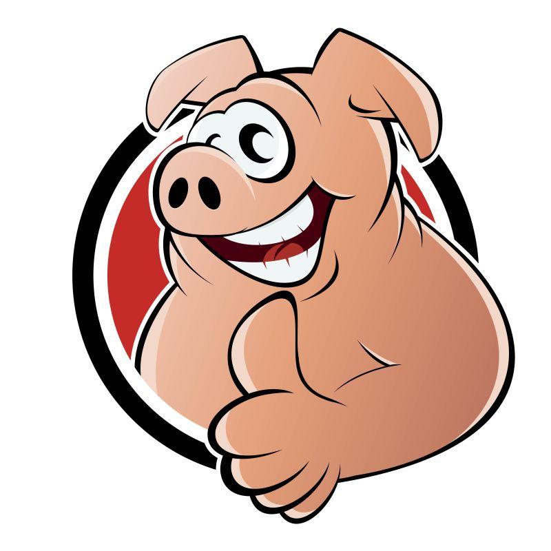 竖起大拇指的猪矢量插图