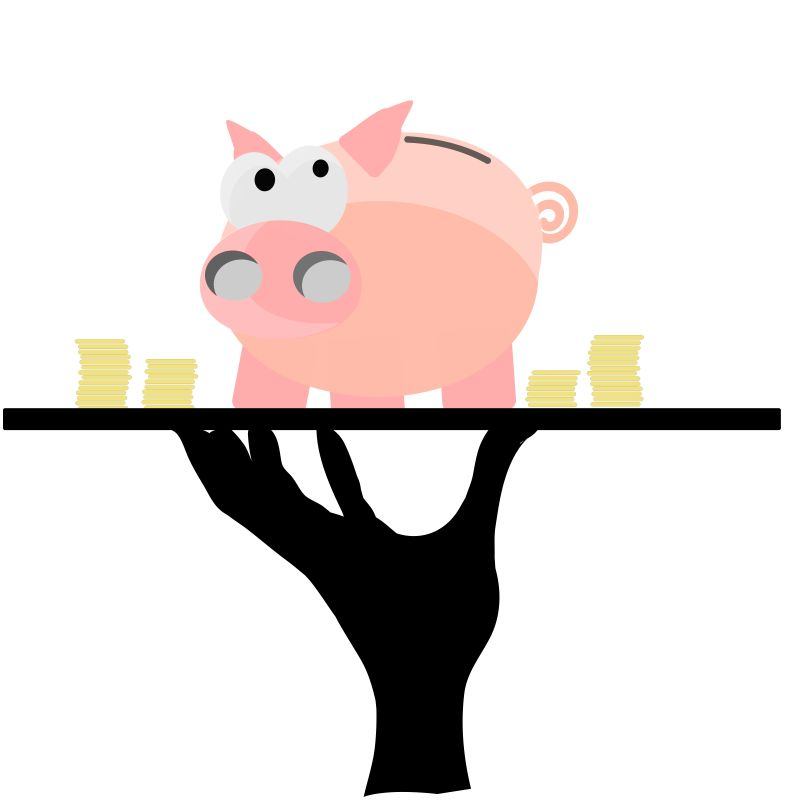 托盘里的小猪矢量插图