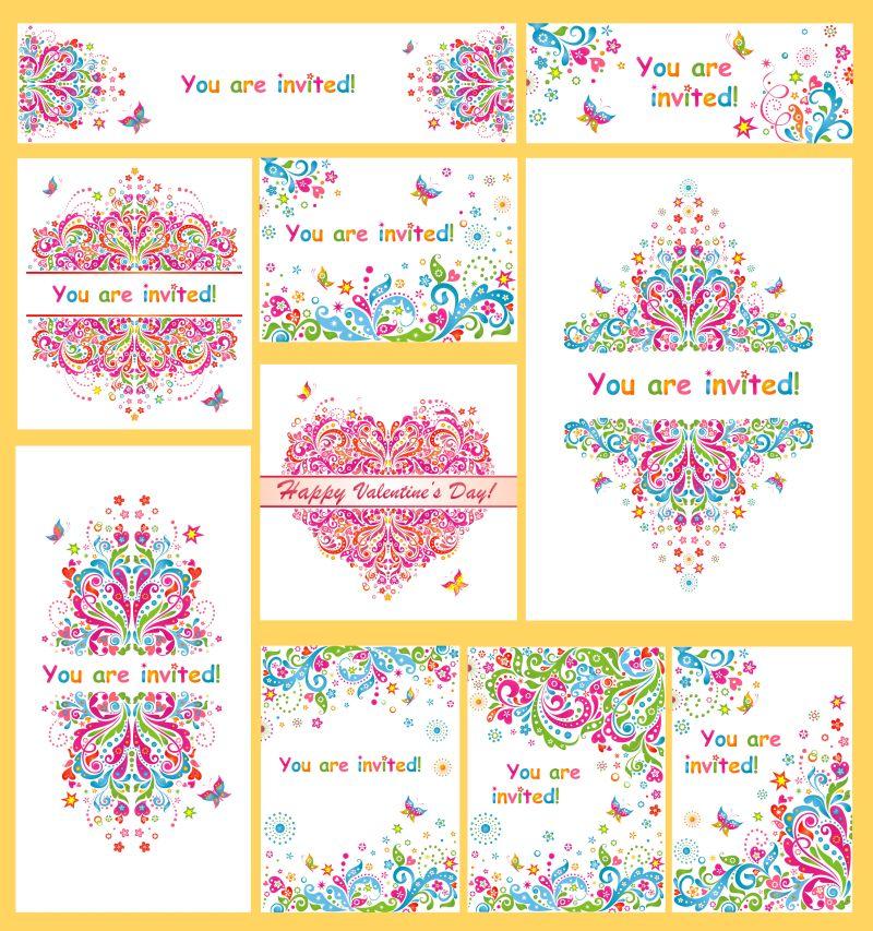 创意矢量夏季花卉装饰请帖设计