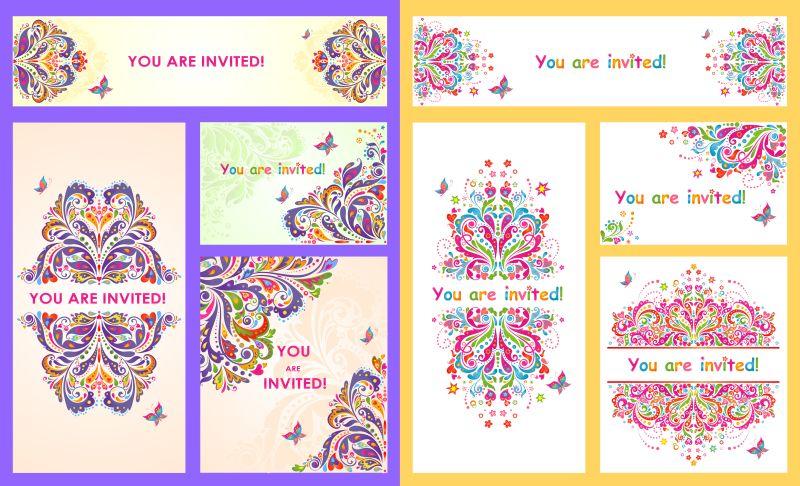 创意矢量彩色装饰花纹的请帖设计