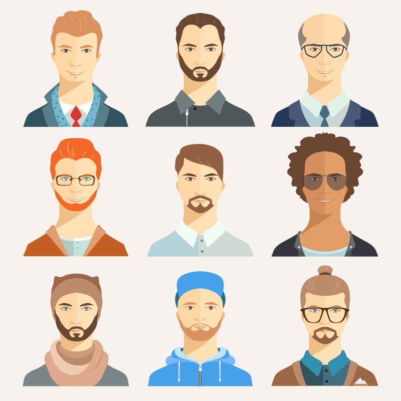 不同造型的男人矢量平面插图