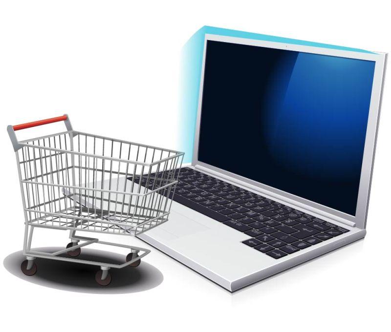 创意矢量电脑网络购物图标