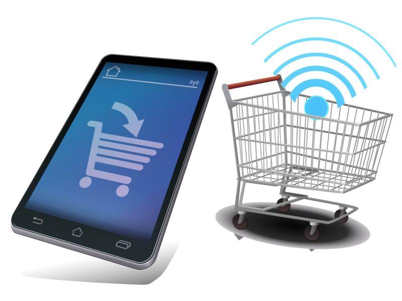 创意矢量无线设备在线购物图标