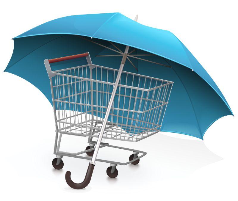 创意矢量购物车保障概念的图标设计