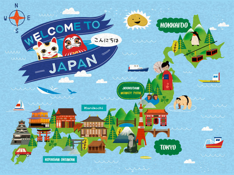 日本旅游地图矢量设计
