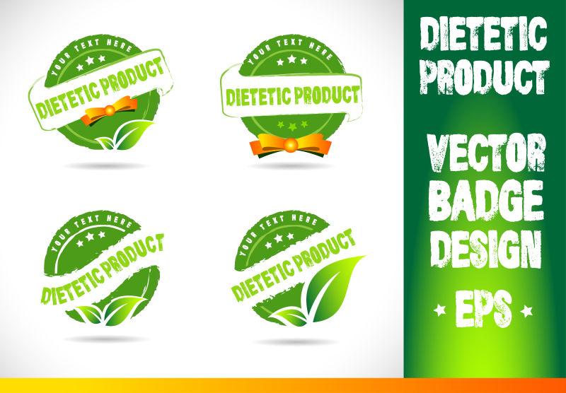 矢量的绿色天然食品徽章设计