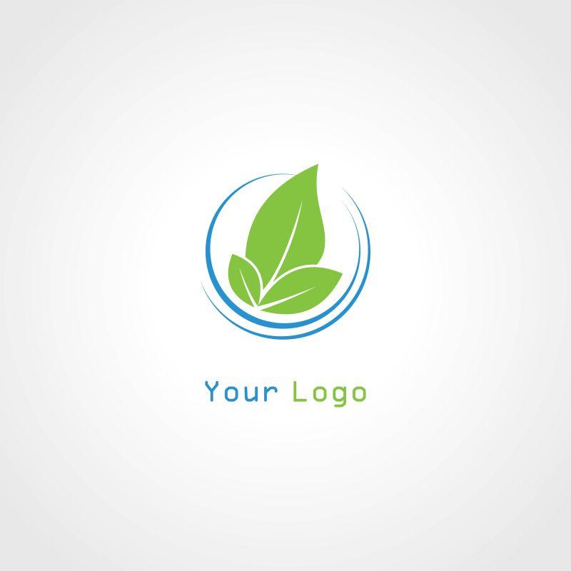 矢量圆形绿叶植物的标志设计
