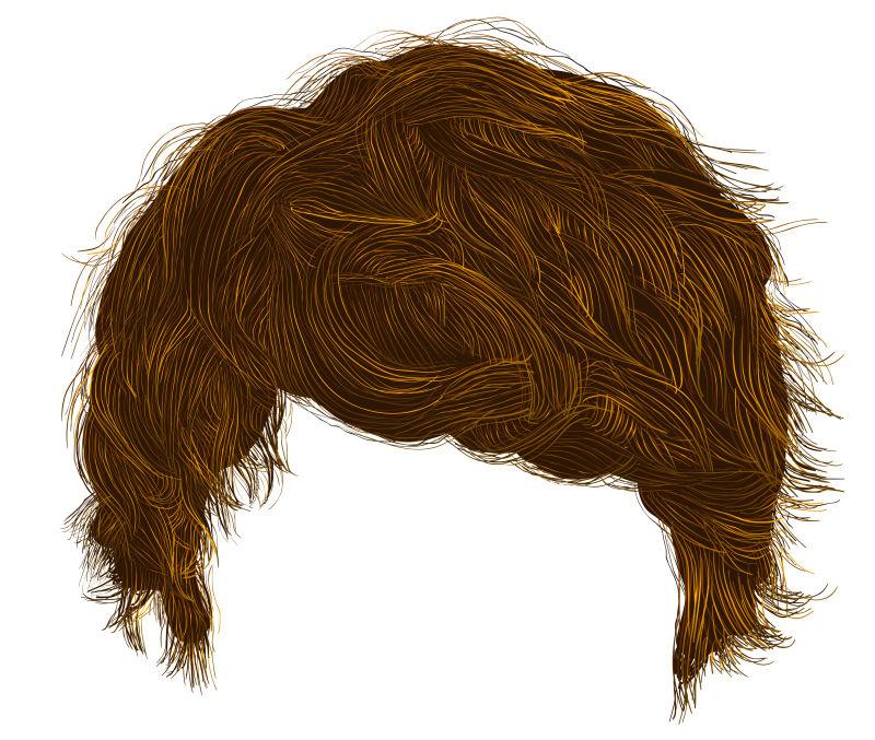潮流男子的棕色卷发矢量插图