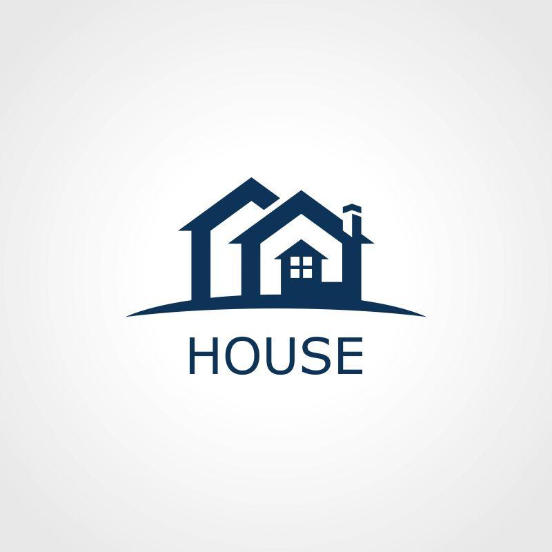 矢量几何简易的房屋标志设计