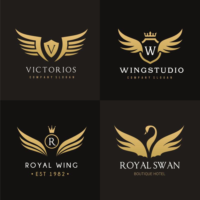 创意矢量有翅膀的标志设计