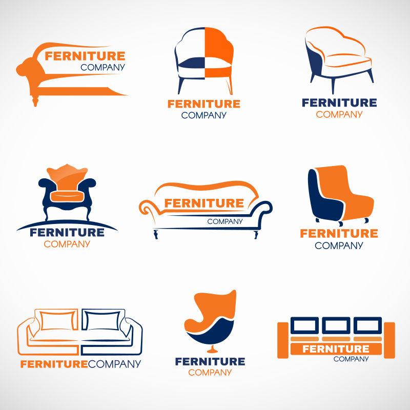 创意矢量沙发图形的标志设计